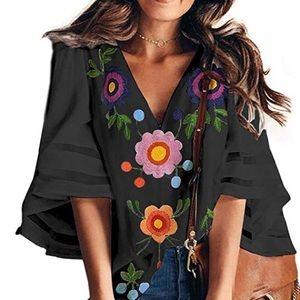 Floral V-Neck Blouse, Bell Sleeves